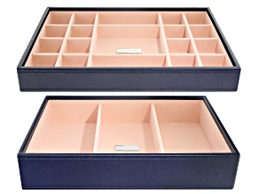 Stackables Medium Jewelry Tray Set Navy by Wolf Includes Standard and Deep Tray