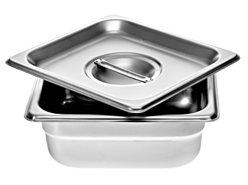 """Picture of 4"""" Stainless Steel Firing Pan With Lid Holds 2 lbs Carbon When Firing Base Metal Clays in A Kiln"""