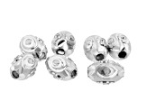 Sterling Silver Fancy Diamond Cut Spacer Beads in 3 Sizes Appx 23 Pieces Total