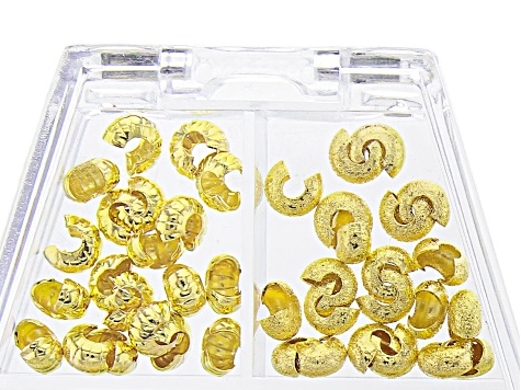 Crimp Covers, Assorted, Gold Tone, Appx 80 Pieces
