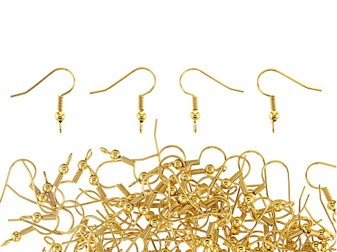 Ear Wires, Ball & Spring, Gold Color, Appx 144 Pieces
