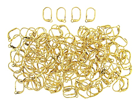 Ear Wires, Lever Back, Fleur, Gold Tone, Appx 144 Pieces