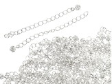Extension Chain, 2 in (5.08 cm), Ball Drop, .925 Sterling Over Base Metal, Appx 144 Pieces