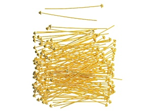 Head Pins, 2 in (50.8 mm), 21 Gauge (.028 in) Fancy, Gold Tone, Appx 144 Pieces
