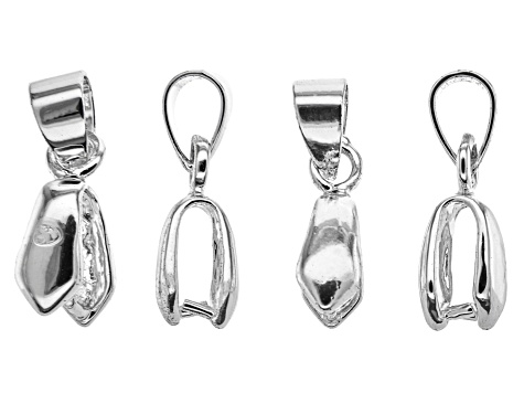 Pinch Bail Pendant, 14 mm (.0.55 in), .925 Sterling Over Base Metal, 4 Pieces