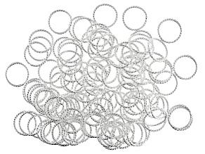 Solid Rings, 16 mm (.630 in), Twist, .925 Sterling Over Base Metal, Appx 144 Pieces