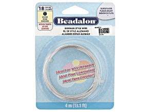 German Style Round Wire in Silver Tone 18 Gauge Appx 1mm in Diameter Appx 13' in Length