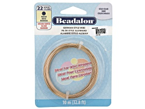 German Style Round Wire in Gold Tone 22 Gauge Appx .64mm in Diameter Appx 10m Total