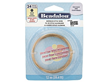 Picture of German Style Round Wire in Gold Tone 24 Gauge Appx 0.51mm in Diameter Appx 12m in length