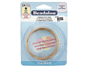 German Style Round Wire in Gold Tone 24 Gauge Appx 0.51mm in Diameter Appx 12m in length