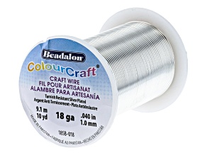 ColourCraft Round Wire in Tarnish Resistant Silver Tone 18 Gauge Appx 1mm in Diameter Appx 10 Yards