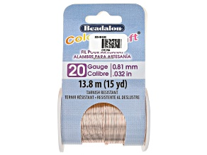 ColourCraft Round Wire in Rose Gold Tone 20 Gauge Appx 0.8mm Diameter Appx 15 Yards Total