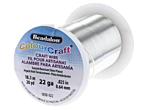 ColourCraft Round Wire in Tarnish Resistant Silver Tone 22 Gauge Appx 0.6mm Diameter Appx 20 Yards