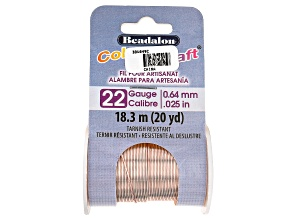 ColourCraft Round Wire in Rose Gold Tone 22 Gauge Appx 0.6mm Diameter Appx 20 Yards Total
