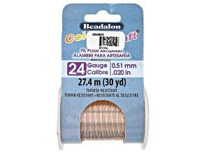 ColourCraft Round Wire in Rose Gold Tone 24 Gauge Appx 0.5mm Diameter Appx 30 Yards Total