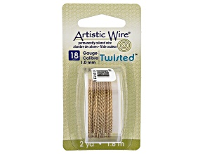 Twisted Artistic Wire in Brass Gold Tone 18 Gauge Appx 1mm in Diameter Appx 2 Yards Total