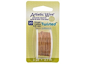 Twisted Artistic Wire in Natural Tone 20 Gauge Appx 0.8mm in Diameter Appx 3 Yards Total