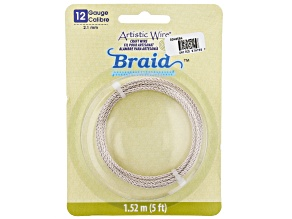 Artistic Wire Round Braid in Silver Tone 12 Gauge Appx 2mm in Diameter Appx 5' Total