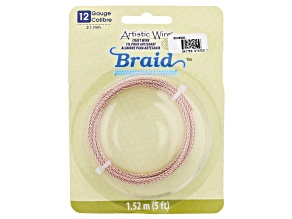 Artistic Wire Round Braid in Rose Gold Tone 12 Gauge Appx 2mm in Diameter Appx 5' Total