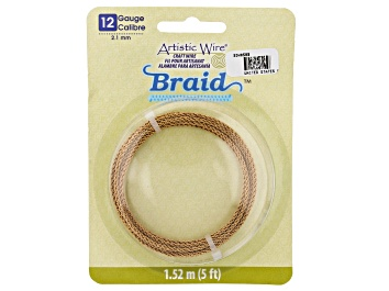 Picture of Artistic Wire Round Braid in Antiqued Brass Tone 12 Gauge Appx 2mm Diameter Appx 5' Total