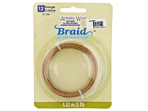 Artistic Wire Round Braid in Antiqued Brass Tone 12 Gauge Appx 2mm Diameter Appx 5' Total