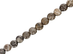 "Fossil Stone Appx 8mm Round Large Hole Bead Strand Appx 7-8"" Length"