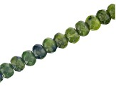 Serpentine Appx 8mm Faceted Rondelle Large Hole Bead Strand Appx 8