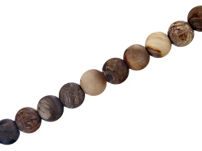 """Matte Petrified Wood Appx 8mm Round Large Hole Bead Strand Appx 8"""" Length"""