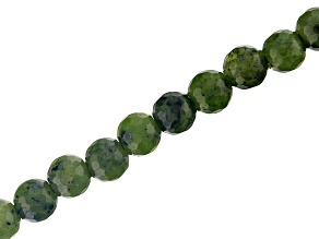 Serpentine Appx 8mm Faceted Round Large Hole Bead Strand Appx 8