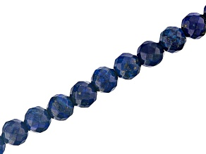 Lapis Appx 8mm Faceted Round Large Hole Bead Strand Appx 8