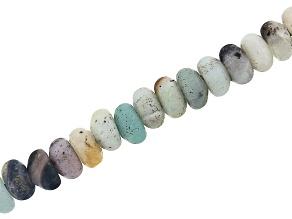 """Matte Multi-Color Quartzite Appx 8mm Rondelle Large Hole Bead Strand Appx 8"""" Length"""