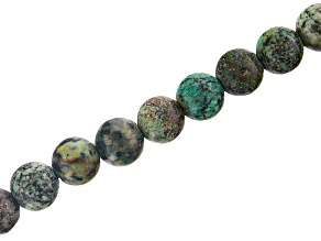 Turquoise Simulant Appx 10mm Round Large Hole Bead Strand Appx 8