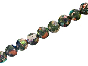 "Mardi Gras Appx 10mm Round Large Hole Bead Strand Appx 8"" Length"