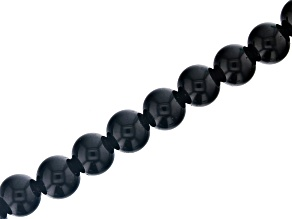 Black Onyx Appx 10mm Round Large Hole Bead Strand Appx 8