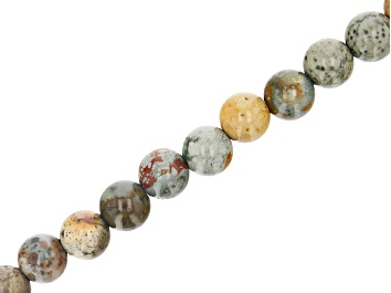 "Picture of Rocky Butte Jasper Appx 10mm Round Large Hole Bead Strand Appx 7-8"" Length"