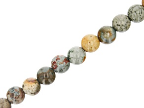 """Rocky Butte Jasper Appx 10mm Round Large Hole Bead Strand Appx 7-8"""" Length"""