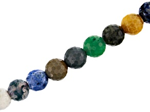 "Multi-Stone Appx 10mm Faceted Round Large Hole Bead Strand Appx 8"" Length"