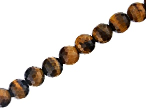 "Tiger Eye Appx 10mm Faceted Round Large Hole Bead Strand Appx 8"" Length"