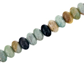 "Multi-Color Quartzite Appx 10mm Rondelle Large Hole Bead Strand Appx 8"" Length"