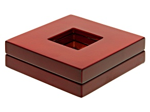 Gemstone display box cherry finish wooden case 73 X 73 X 22mm.