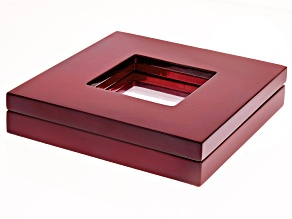 Large gemstone display box cherry finish wooden case 110x110x24mm.