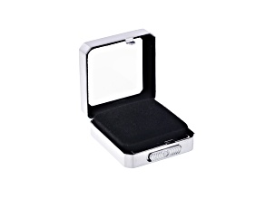 Gemstone Display Box Matte Silver Finish 40 X 40 X 17mm With Reversible Black And White Cushion