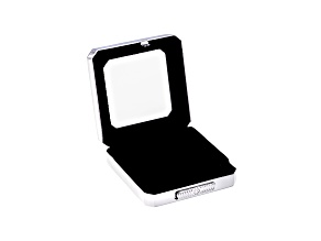 Gemstone Display Box Polished Silver Finish 55 X 55 X 17mm With Reversible Black And White Cushion
