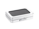 Gemstone Display Box Polished Silver Finish 80 X 55 X 17mm With Reversible Black And White Cushion