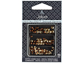 Hotfix Crystal Combo Pack Of 90, Light Brown And Dark Brown Colors.