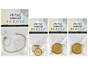 Interchangeable Antq Brass Bracelet And Antq Brass Rd Earring Bezel Set