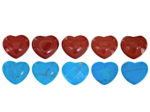 Red Jasper and Blue Magnesite Heart Shape Non-Drilled Focals Set of 10 Pieces
