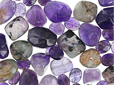 1/4 lb Amethyst and Charoite in Matrix Bead Parcel in assorted shapes and sizes
