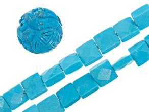 Blue Magnesite Bead Set of 2 strands & 1 Focal Bead