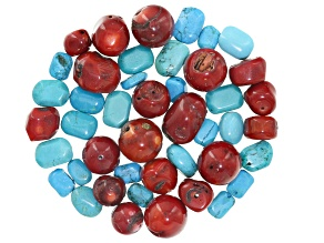 1/2 lb Blue Magnesite & Red Coral Loose Bead Parcel in assorted shapes & sizes